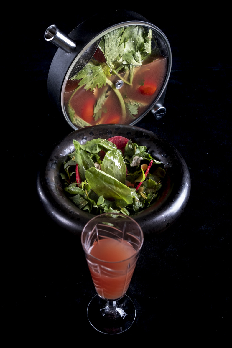 nsalatina di erbe e funghi di giornata, conditella, Gin di Vallombrosa e abete